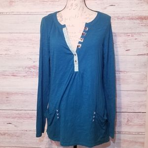 Anthropologie little yellow button Tunic top